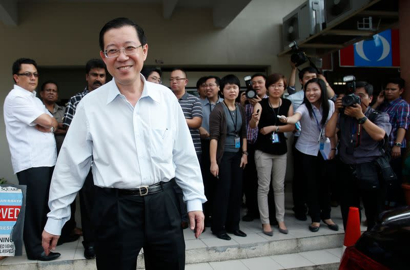 Chief minister of Malaysia's state of Penang Lim Guan Eng smiles as he leaves a meeting in Kuala Lumpur
