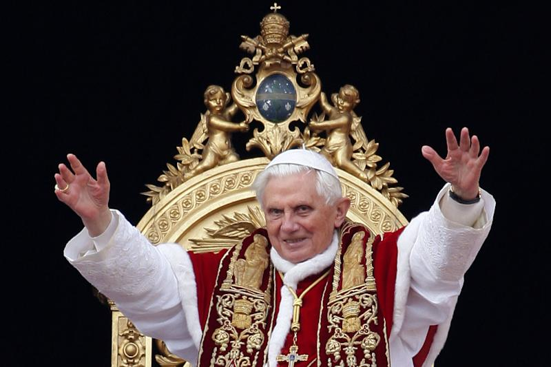 Pope Benedict XVI wearing his traditional vestments.