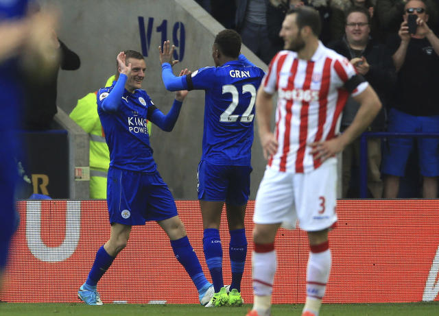 <p>Leicester City's Jamie Vardy celebrates scoring his sides second goal against Stoke City, during their English Premier League soccer match at the King Power Stadium in Leicester, England, Saturday April 1, 2017. (Nigel French/PA via AP) </p>