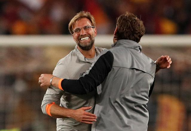 Soccer Football - Champions League Semi Final Second Leg - AS Roma v Liverpool - Stadio Olimpico, Rome, Italy - May 2, 2018 Liverpool manager Juergen Klopp celebrates after the match Action Images via Reuters/John Sibley