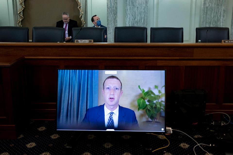 """Mark Zuckerberg, founder and CEO of Facebook, testifying remotely during a Senate hearing on Section 230, on Oct. 28<span class=""""copyright"""">Michael Reynolds—Pool/Getty Images</span>"""