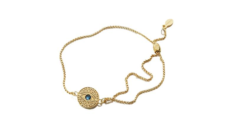 Evil Eye Crystal Pull Chain Bracelet 14kt Gold Plated