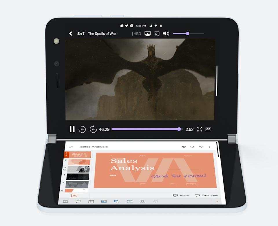 The point of the Surface Duo is to allow you to do more with an extra screen. Whether that's more work or entertainment is up to you. (Image: Microsoft)