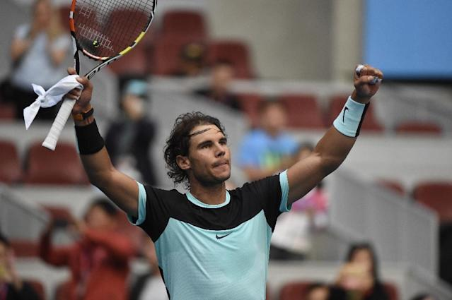 Rafael Nadal of Spain celebrates his victory over Jack Sock of the US in their men's singles quarter-final match at the China Open in Beijing on October 9, 2015 (AFP Photo/Fred Dufour)