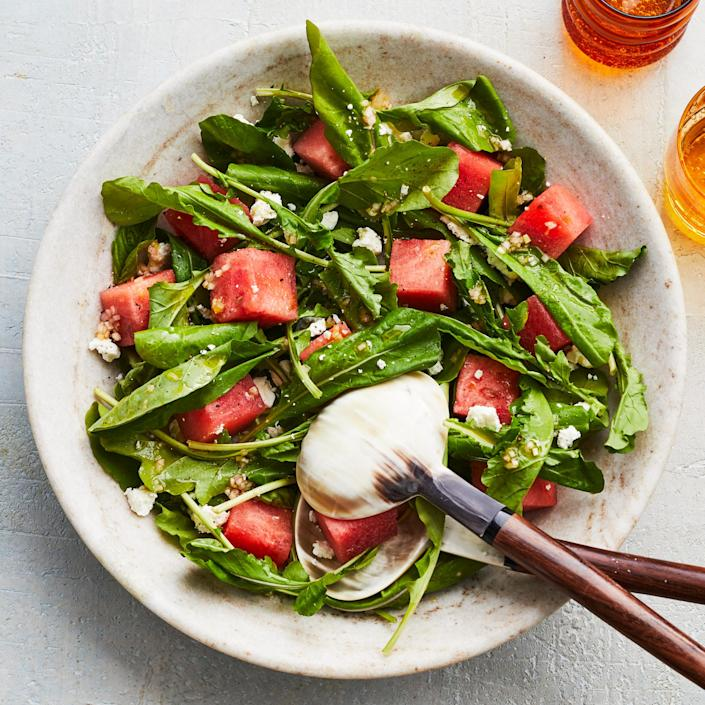 <p>This simple watermelon and arugula salad is slightly sweet, which mellows the peppery arugula. The basil works beautifully with both the arugula and the watermelon, and the briny, salty feta cheese is the perfect complement to the rest of the flavors.</p>
