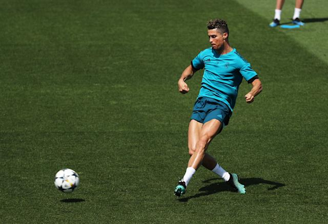 Soccer Football - Champions League - Real Madrid Training - Real Madrid City, Madrid, Spain - May 22, 2018 Real Madrid's Cristiano Ronaldo during training REUTERS/Sergio Perez