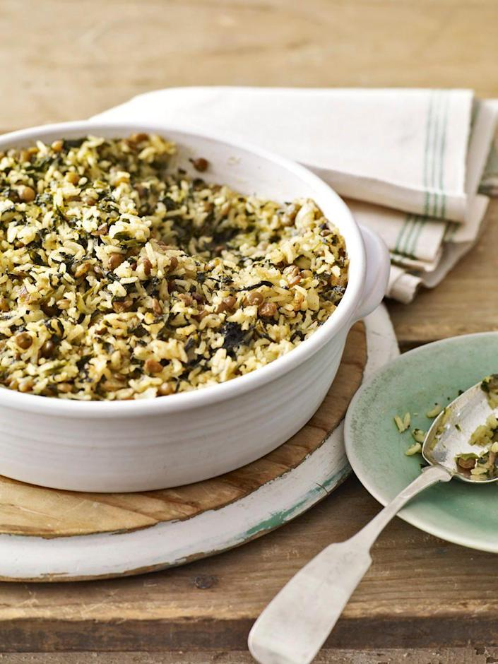"""<p>Baked with lentils and rice in this casserole recipe, frozen spinach makes for a healthy and filling dinner.</p><p><strong><a href=""""https://www.countryliving.com/food-drinks/recipes/a2798/curried-spinach-lentil-bake-recipe/"""" rel=""""nofollow noopener"""" target=""""_blank"""" data-ylk=""""slk:Get the recipe"""" class=""""link rapid-noclick-resp"""">Get the recipe</a>.</strong></p>"""