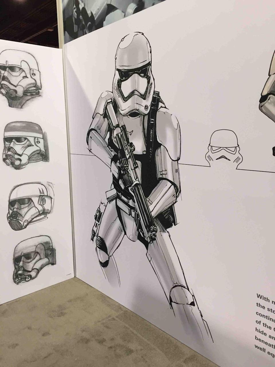 <p>Left: Some early McQuarrie helmet sketches from the 1970s. Right: The latest incarnation of the iconic space soldier. With the collapse of the Empire in 'Return of the Jedi,' the remaining loyalists form the First Order. The updated armor will be showcased in 'The Force Awakens.'</p>