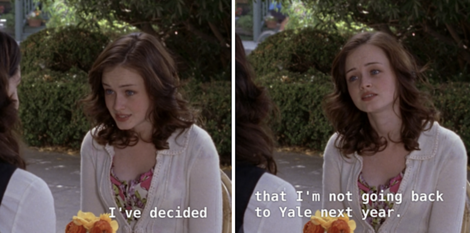 Rory telling Lorelai that she is dropping out of Yale