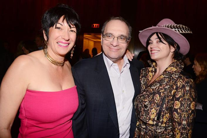 """<div class=""""inline-image__caption""""> <p>Ghislaine Maxwell, Bob Weinstein and Karen Duffy attend Holly Peterson's The Idea of Him Book Party at The Four Seasons on April 2, 2014 in New York City. </p> </div> <div class=""""inline-image__credit""""> Patrick McMullan via Getty </div>"""