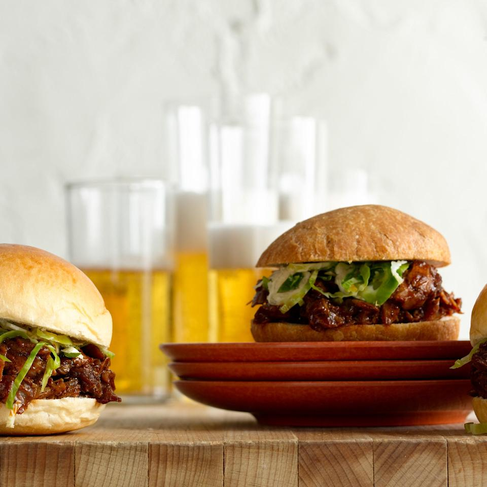 """Treat your leftover drumsticks to a long, slow, moist braise in barbecue sauce, so the meat falls off the bones. <a href=""""https://www.epicurious.com/recipes/food/views/chipotle-barbecue-pulled-turkey-drumstick-sliders-with-brussels-spout-slaw-369372?mbid=synd_yahoo_rss"""" rel=""""nofollow noopener"""" target=""""_blank"""" data-ylk=""""slk:See recipe."""" class=""""link rapid-noclick-resp"""">See recipe.</a>"""