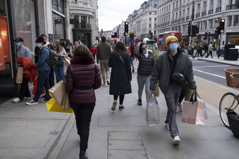 Reflecting consumer eagerness to spend, 'going to a shop' topped the list of leisure activities people are most likely to do post-lockdown. Photo: Mike Kemp/In Pictures via Getty Images