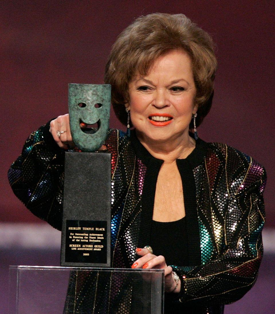 <p>Shirley returned to the stage once again in 2006, this time to accept the Screen Actors Guild Lifetime Achievement Award. Her husband, Charles Black, passed away the year before, so the actress was escorted by their son. </p>