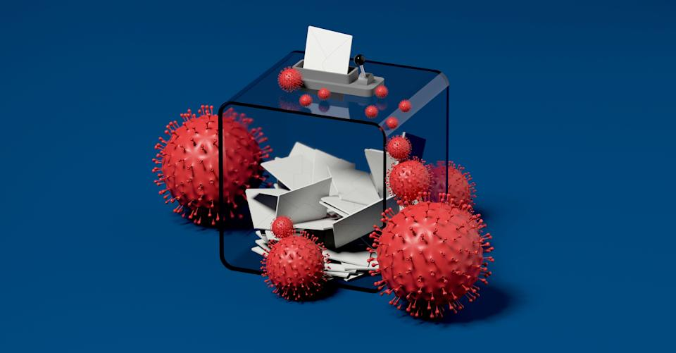 ballot box and viruses blue background 3D rendering (Photo: Thibault Renard via Getty Images)