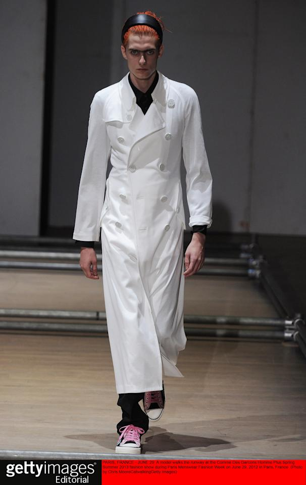 PARIS, FRANCE - JUNE 29:  A model walks the runway at the Comme Des Garcons Homme Plus Spring Summer 2013 fashion show during Paris Menswear Fashion Week on June 29, 2012 in Paris, France.  (Photo by Chris Moore/Catwalking/Getty Images)