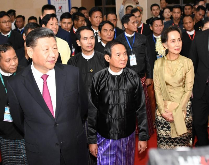 Chinese President Xi Jinping, Myanmar President Win Myint and Myanmar State Counsellor Aung San Suu Kyi attend a cermony marking Myanmar and China's 70th anniversary of diplomatic relations at in Naypyidaw