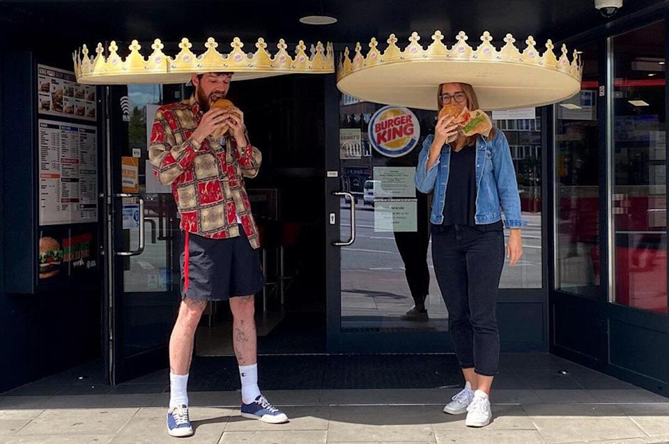 Burger King Germany is handing out six-foot crowns to ensure patrons are physically distancing. (Photo: Burger King Germany)