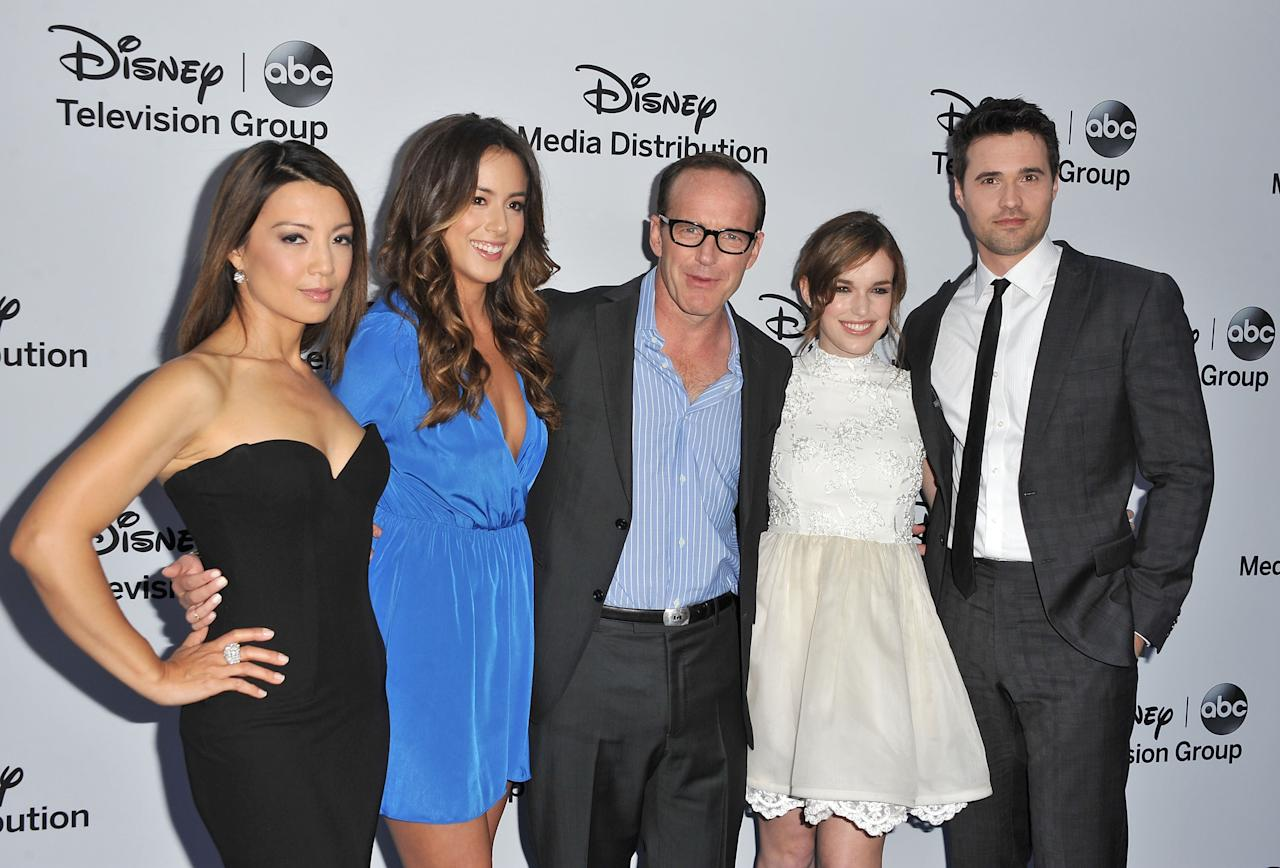 BURBANK, CA - MAY 19:  Actorsa Ming-Na Wen, Chloe Bennet, Clark Gregg, Elizabeth Henstridge and Brett Dalton arrive at the Disney Media Networks International Upfronts at Walt Disney Studios on May 19, 2013 in Burbank, California.  (Photo by Angela Weiss/Getty Images)