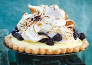 """Tart and fruity, a dollop of velvety meringue ups the luxury quotient of this decadent chilled number. <a href=""""https://www.bonappetit.com/recipe/lime-blackberry-italian-meringue-pie?mbid=synd_yahoo_rss"""" rel=""""nofollow noopener"""" target=""""_blank"""" data-ylk=""""slk:See recipe."""" class=""""link rapid-noclick-resp"""">See recipe.</a>"""