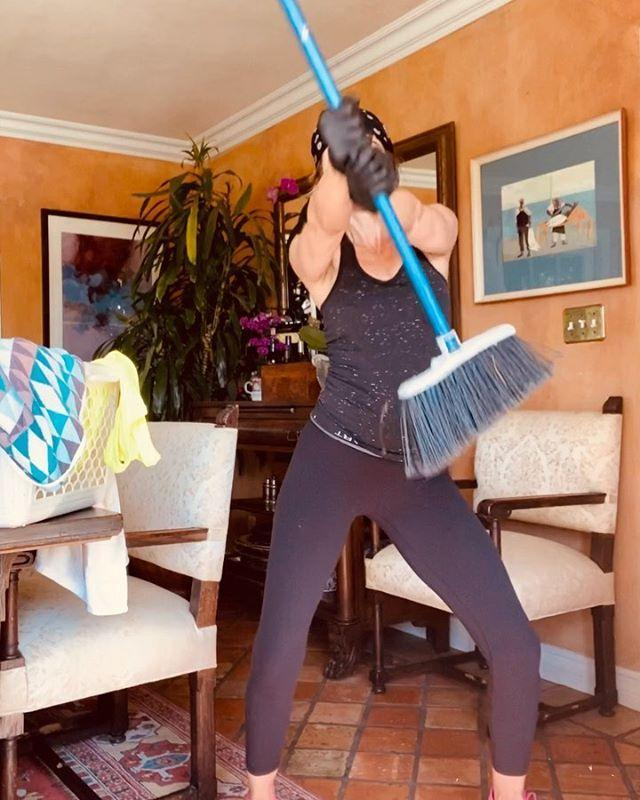"""<p>While staying home amid the coronavirus pandemic, the actress got dressed to clean the house — but ended up dancing instead (which seems to be a fairly <a href=""""https://www.instagram.com/p/CAlYHV4jLbw/"""" rel=""""nofollow noopener"""" target=""""_blank"""" data-ylk=""""slk:common occurrence for her"""" class=""""link rapid-noclick-resp"""">common occurrence for her</a>). </p>"""