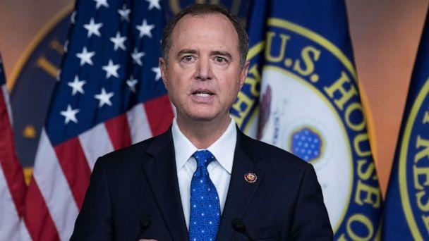 PHOTO:  House Intelligence Committee Chairman Adam Schiff, D-Calif., conducts news conference in the Capitol Visitor Center on the transcript of a phone call between President Trump and Ukrainian President Volodymyr Zelenskiy. (Tom Williams/CQ-Roll Call, Inc via Getty Images)