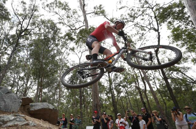 Cycling Cross-Country - Gold Coast 2018 Commonwealth Games - Mountain Bike - Men's Cross-Country - Nerang Mountain Bike Trails - Gold Coast, Australia - April 12, 2018. Dylan Kerfoot-Robson of Wales. REUTERS/Paul Childs