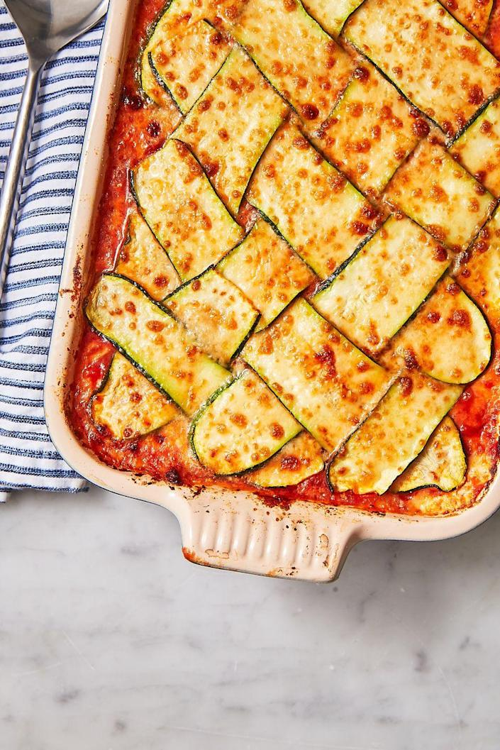 "<p>This knockout dish is so good, you won't miss the carbs.</p><p>Get the recipe from <a href=""https://www.delish.com/cooking/recipe-ideas/recipes/a48657/zucchini-lattice-lasagna-recipe/"" rel=""nofollow noopener"" target=""_blank"" data-ylk=""slk:Delish"" class=""link rapid-noclick-resp"">Delish</a>.</p>"