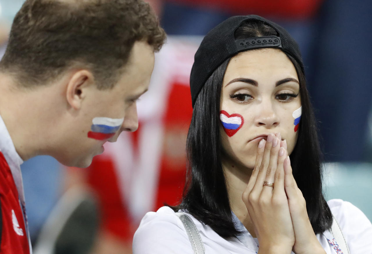 <p>Russia's fans react after Russia's loss in the quarterfinal match between Russia and Croatia at the 2018 soccer World Cup in the Fisht Stadium, in Sochi, Russia, Saturday, July 7, 2018. (AP Photo/Darko Bandic) </p>