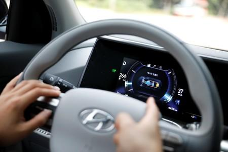 A small display shows Hyundai Motor's Nexo hydrogen car's realtime energy flow during a demonstration in Seoul
