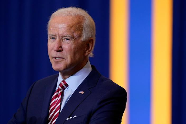 Democratic presidential candidate former Vice President Joe Biden speaks during a Hispanic Heritage Month event, Tuesday, Sept. 15, 2020, at Osceola Heritage Park in Kissimmee, Fla. (AP Photo/Patrick Semansky) ORG XMIT: FLPS159