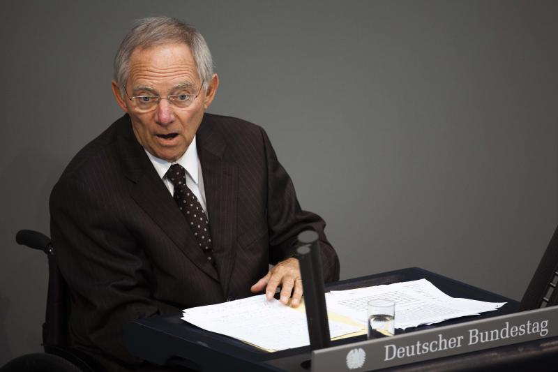 German Finance Minister Wolfgang Schaeuble  delivers his speech during a debate about the Greek bailout package at the German parliament Bundestag in Berlin on Friday, June 10, 2011. (AP Photo/Markus Schreiber)