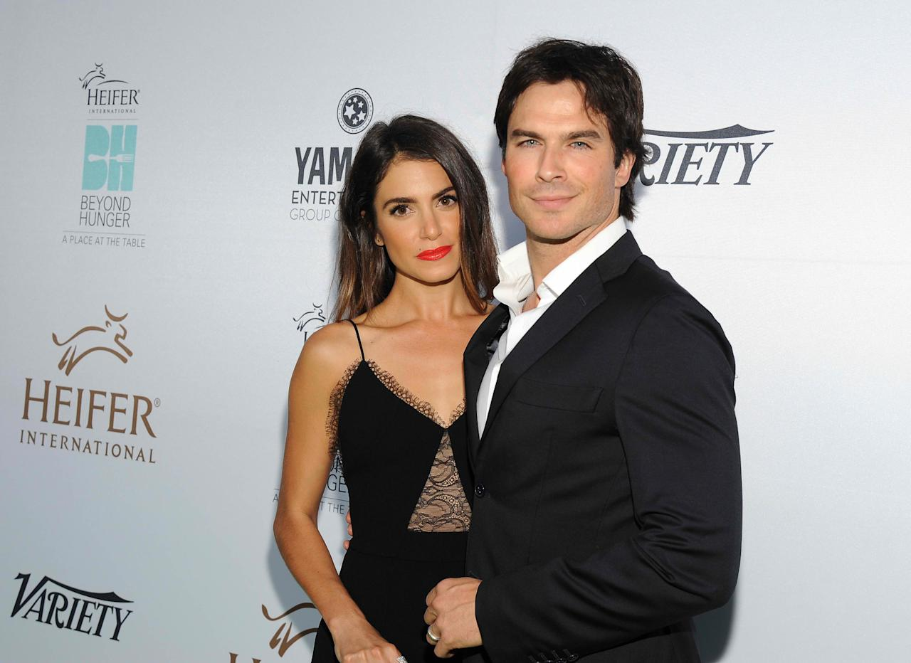 Nikki Reed confessed that husband, Ian Somerhalder, threw her birth control pills when they agreed to have a baby. Pictured: Reed and Somerhalder attend Heifer International's 4th Annual Beyond Hunger Gala at the Montage on Sept. 18, 2015 in Beverly Hills, California.