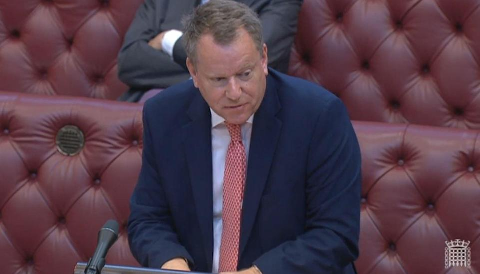 David Frost, the Brexit minister, tells the House of Lords the UK government wants to renegotiate the Northern Ireland protocol (PA Wire)