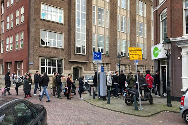 Queues formed outside coffee shops across the Netherlands after the government announced coronavirus restrictions (AFP via Getty Images)