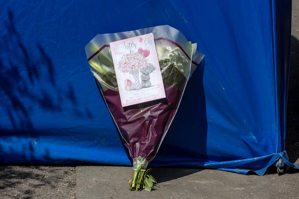 Floral tribute at the scene on Lapworth Grove, Balsall Heath, Birmingham.