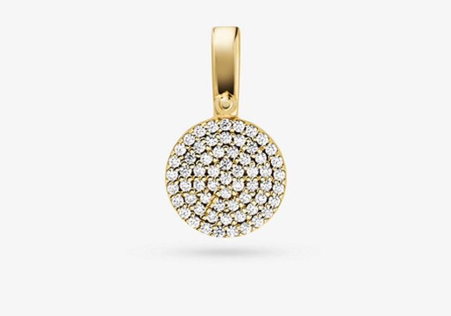 Precious Metal-Plated Sterling Silver Pavé Disk Charm. (PHOTO: Michael Kors)