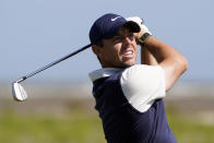 FILE - In this May 21, 2021, file photo, Rory McIlroy, of Northern Ireland, watches his tee shot on the eighth hole during the second round of the PGA Championship golf tournament on the Ocean Course in Kiawah Island, S.C. (AP Photo/Chris Carlson, File)