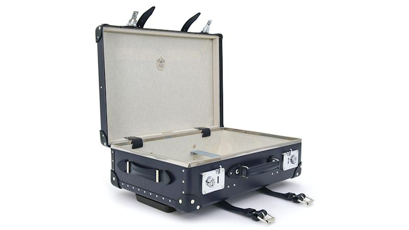 Globe-Trotter Centenary 20-inch trolley case with leather corners and handles