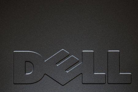 A Dell logo is pictured on the side of a computer in this photo illustration in the Manhattan borough of New York