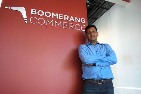 Guru Hariharan, the CEO of startup Boomerang Commerce, poses at the company's headquarters in Mountain View, California, U.S. April 21, 2017.   REUTERS/Stephen Nellis