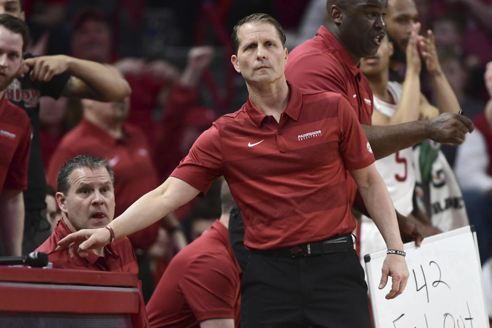 FILE - In this Wednesday, March 4, 2020, file photo, Arkansas coach Eric Musselman reacts on the sidelines against LSU during the first half of an NCAA college basketball game in Fayetteville, Ark. This season, a host of newcomers will have opportunities for second-year coach Musselman. (AP Photo/Michael Woods, File)