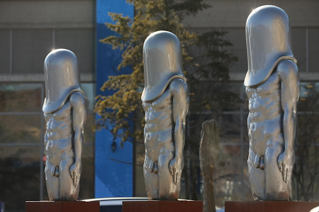 "<p><strong>THE UGLY</strong><br>The ""Bullet Men"" Statues:<br>Adult Content! A trio of statues in front of the Main Press Centre look towards the Alpensia Ski Jump Center at the Main Press Centre at the 2018 PyeonChang Winter Olympics. (Getty Images) </p>"