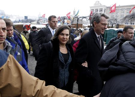 File photo of U.S. Assistant Secretary of State for European and Eurasian Affairs Nuland walking in the opposition camp at Independence Square in Kiev