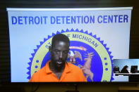 Deangelo Martin is arraigned via video on Monday, June 10, 2019 in 36th District Court in Detroit. Martin is suspected in the serial killing of three prostitutes on the east side of Detroit. (David Guralnick/Detroit News via AP)