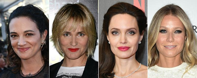 Reported victims of Hollywood producer Harvey Weinstein's advances include (from L) Italian actress Asia Argento, French actress Judith Godreche and US actresses Angelina Jolie and Gwyneth Paltrow (AFP Photo/-)