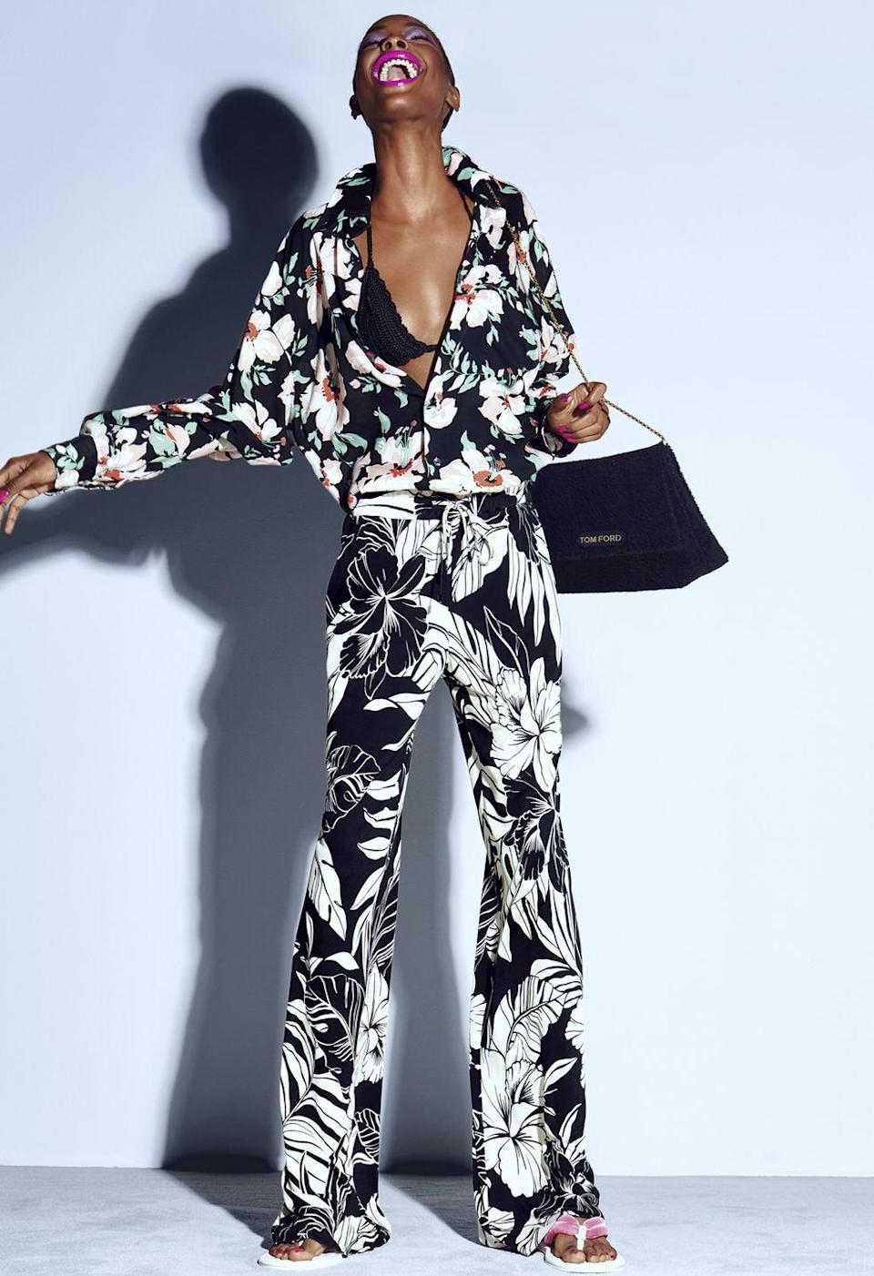"<p>""The last thing I want to see is serious clothes,"" Tom Ford wrote in his press release for his namesake brand's SS21 collection. ""I think we need an escape. I think we want to smile. I know what's going on in our world right now doesn't make us want to smile. So that's what I've done: hopeful clothes that make you smile.""</p><p>How did he make us smile? With bold floral printed two-pieces, a pattern clash, colourful accessories and an incredibly joyful campaign. While it might not have been the A-list-fronted fashion show we are used to seeing from the designer, Ford certainly succeeded in injecting a bit of happiness and excitement into fashion again. Scroll through to see highlights of the collection.</p>"