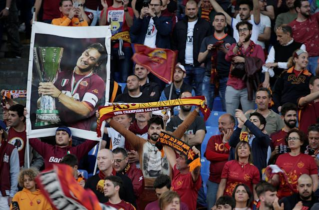 Soccer Football - Champions League Semi Final Second Leg - AS Roma v Liverpool - Stadio Olimpico, Rome, Italy - May 2, 2018 Roma fans inside the stadium before the match REUTERS/Max Rossi
