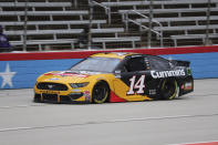 Clint Bowyer drives along the front stretch during the NASCAR Cup Series auto race at Texas Motor Speedway in Fort Worth, Texas, Wednesday, Oct. 28, 2020. (AP Photo/Richard W. Rodriguez)