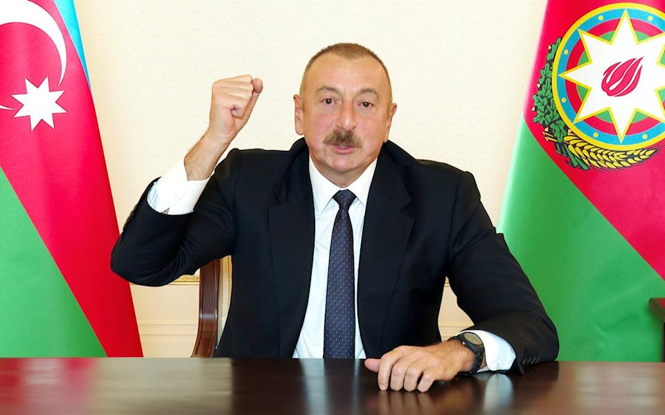 Azerbaijan's President Ilham Aliev has so far ruled out the prospect of Russian peacekeepers - Reuters
