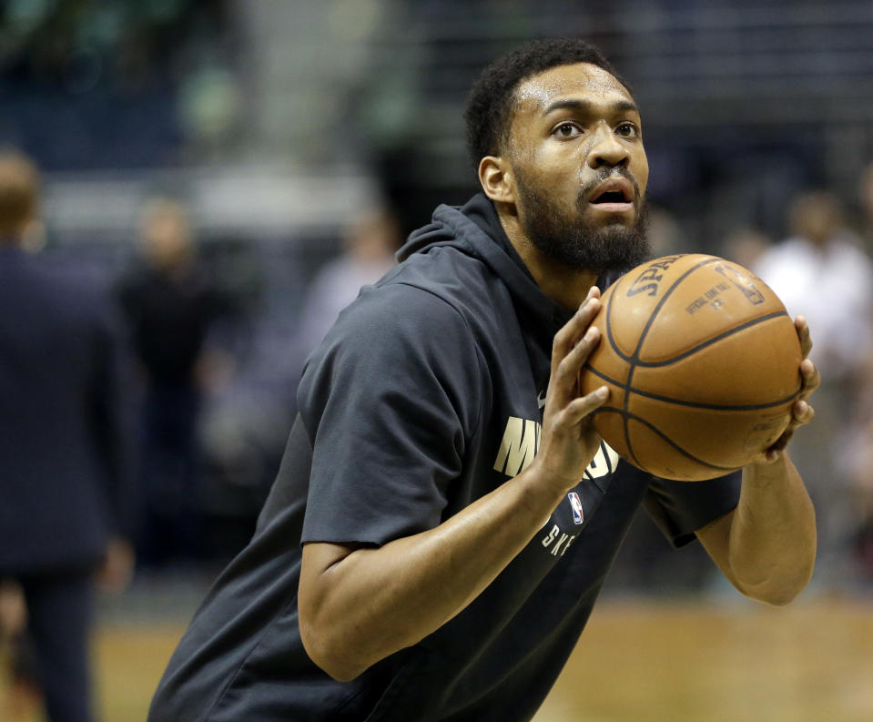 Milwaukee Bucks forward Jabari Parker will return Friday night for his first NBA game in nearly one year, but tells Yahoo Sports he feels 'no anxiety.' (AP File/Aaron Gash)